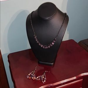 Stone necklace and earrings set